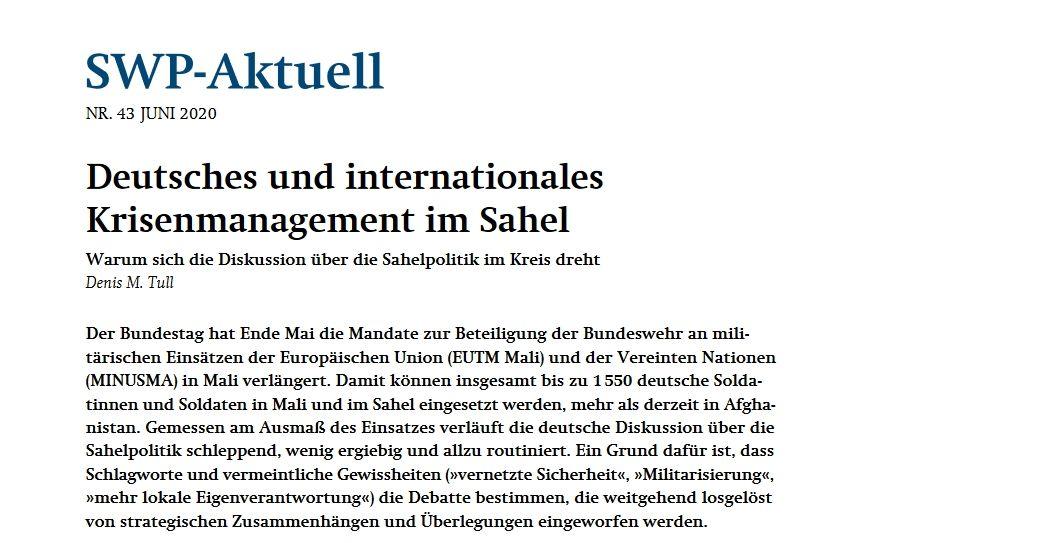 Deutsches und internationales Krisenmanagement im Sahel
