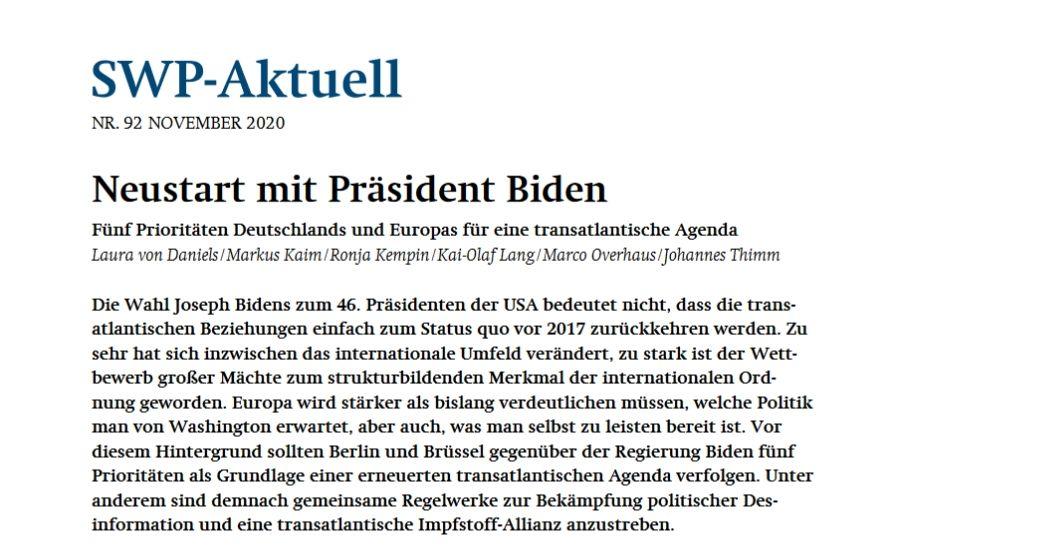Neustart mit Präsident Biden