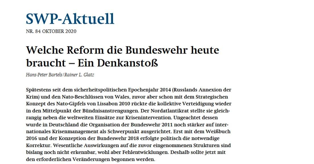 Welche Reform die Bundeswehr heute braucht – Ein Denkanstoß