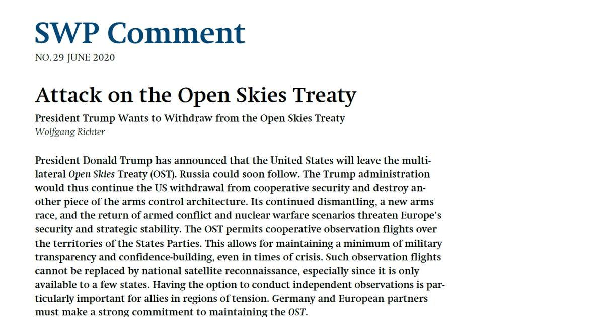 Attack On The Open Skies Treaty Swp
