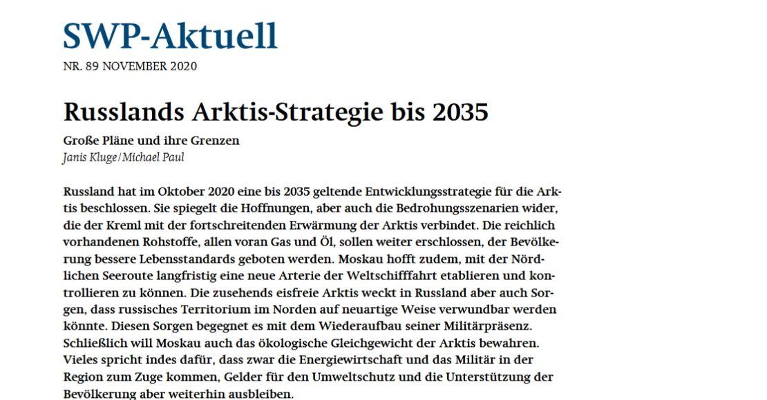 Russlands Arktis-Strategie bis 2035