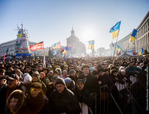 Protesters on the Independence Square »Maidan« in Kiew, 29.12.2013; © Maksymenko Oleksandr, licensed under CC BY 2.0