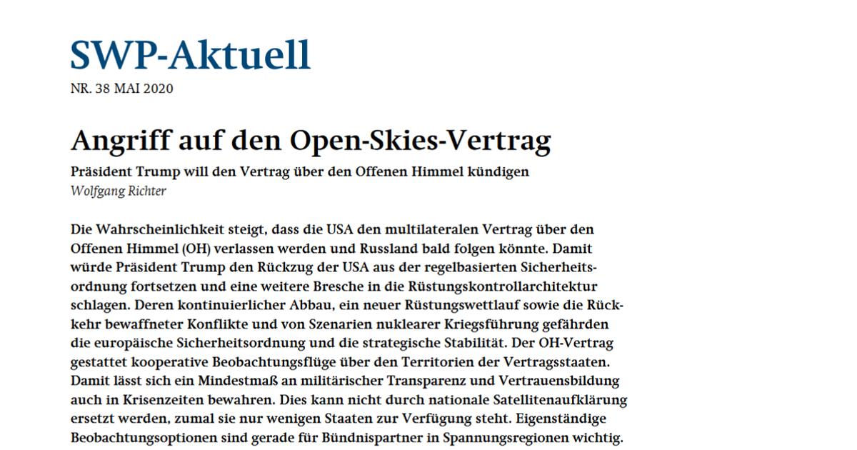 Angriff auf den Open-Skies-Vertrag