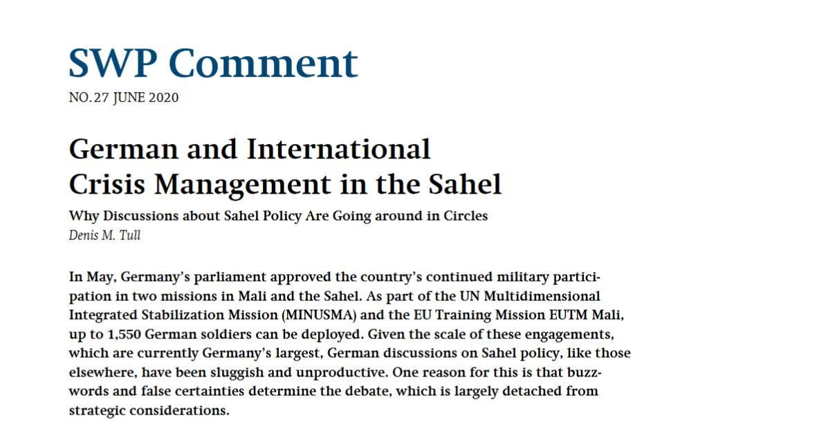 German and International CrisisManagement in the Sahel