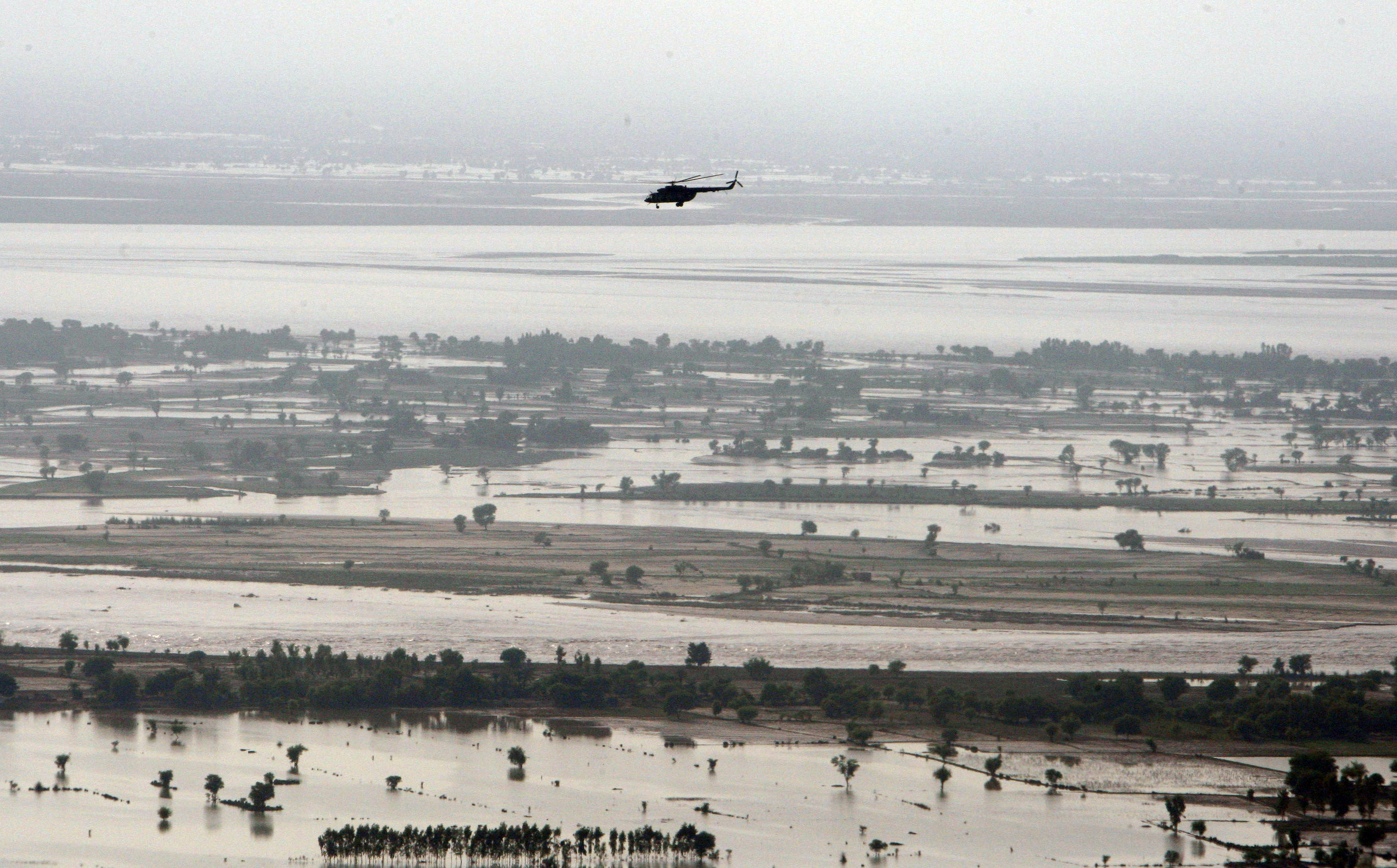 SG's helicopter flying over the flood waters in the Province of Punjab, near the city of Multan.